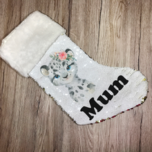Personalised Snow Leopard Gold Sequin Christmas Stocking - Christmas - Molly Dolly Crafts