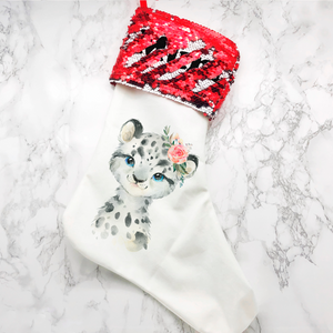 Personalised Snow Leopard Sequin Topped Christmas Stocking