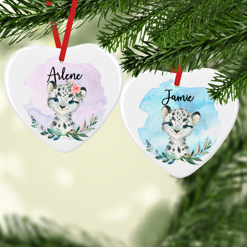 Snow Leopard Watercolour with Name Ceramic Round or Heart Christmas Bauble
