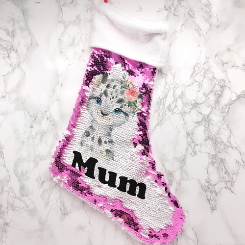 Personalised Snow Leopard Fur Topped Sequin Christmas Stocking