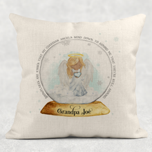 Snowglobe Guardian Angel Memorial Christmas Cushion Cover Linen White Canvas