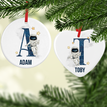 Space Alphabet Watercolour with Name Ceramic Round or Heart Christmas Bauble