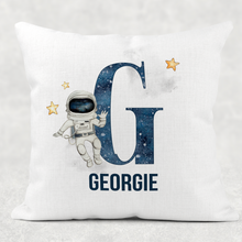 Space Alphabet Personalised Cushion Linen White Canvas