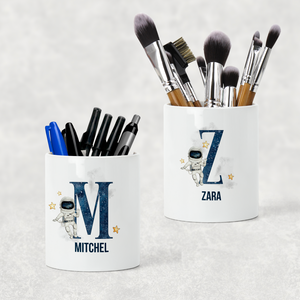 Space Alphabet Watercolour Pencil Caddy / Make Up Brush Holder