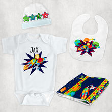 Space Theme New Baby Vest Bib Hat Dribble Cloth Gift Set