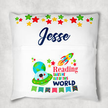 Space Personalised Pocket Book Cushion Cover White Canvas