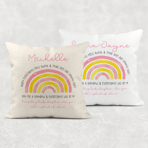 Rainbow Everything looks brighter when you add a splash of colour Personalised Cushion Linen White Canvas