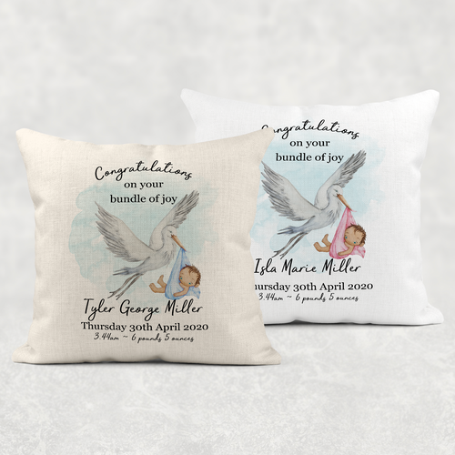 Stork Birth Stat Personalised Cushion Linen White Canvas