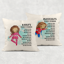 Super Hero Personalised Worry Cushion Cover White Canvas or Natural Linen