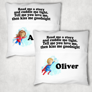 Superhero Personalised Pocket Book Cushion Cover White Canvas