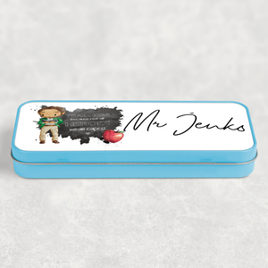 Teacher Superhero Personalised School Pencil Tin