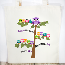 Thank you Owl Tree Personalised Teacher Gift Tote Bag - Tote Bag - Molly Dolly Crafts