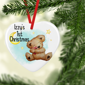 Teddy Baby's First Christmas Ceramic Round or Heart Christmas Bauble