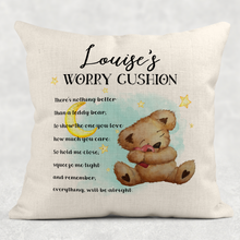 Teddy Worry Cushion Personalised Comfort Cushion Linen White Canvas