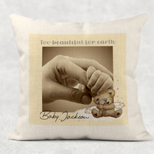 Too Beautiful for Earth Memorial Photo Cushion Cover Linen White Canvas
