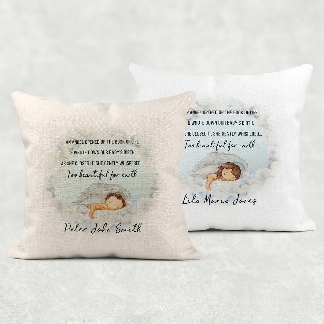 Too Beautiful For Earth Baby Memorial Cushion Cover Linen White Canvas