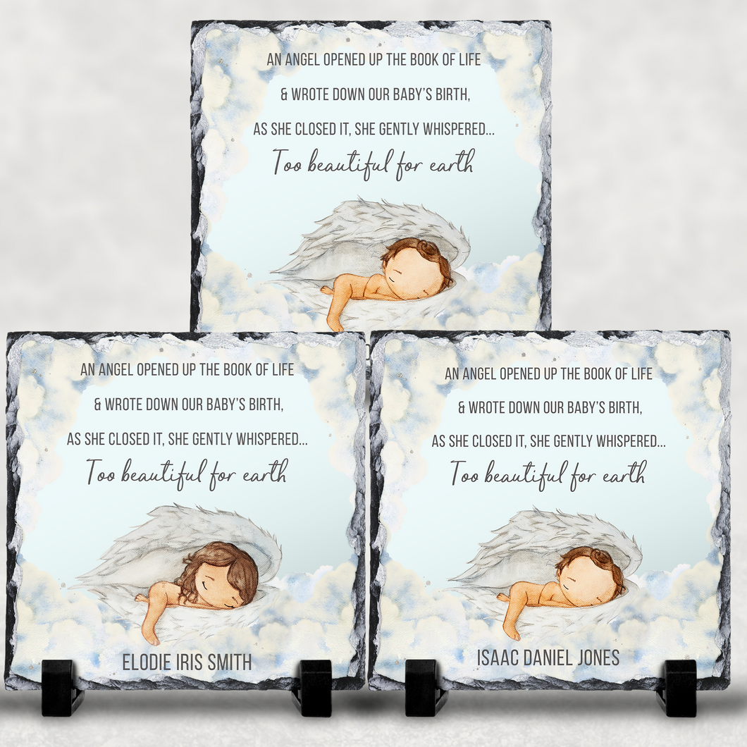 Too Beautiful For Earth Baby Memorial Personalised Slate