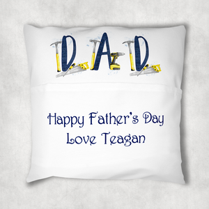 Tool Father's Day Personalised Pocket Cushion Cover White Canvas
