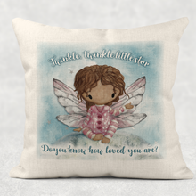 Fairy Twinkle Twinkle Little Star Do You Know How Loved You Are Comfort Cushion Linen White Canvas