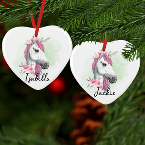 Unicorn Watercolour Personalised Ceramic Round or Heart Christmas Bauble