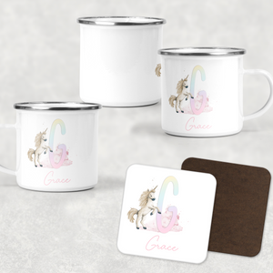 Unicorn Rainbow Alphabet Personalised Camping Mug and Coaster Set