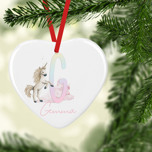 Unicorn Rainbow Alphabet Watercolour Personalised Ceramic Round or Heart Christmas Bauble