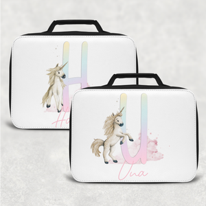 Unicorn Rainbow Alphabet Personalised Insulated Lunch Bag