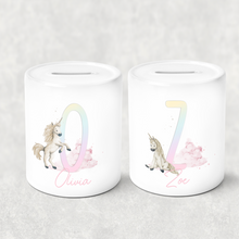 Unicorn Rainbow Alphabet Personalised Money Saving Pot