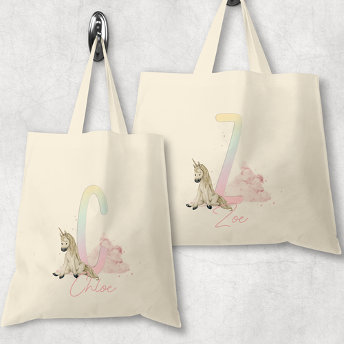 Unicorn Rainbow Alphabet Watercolour Tote Bag