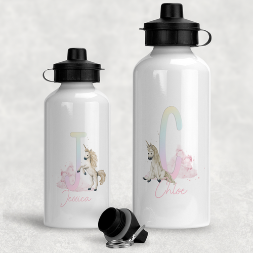 Unicorn Rainbow Alphabet Personalised Aluminium Water Bottle 400/600ml