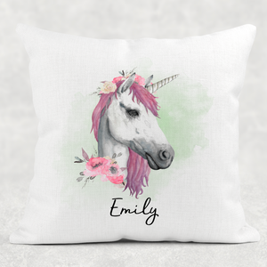 Unicorn Watercolour Linen White Canvas Cushion