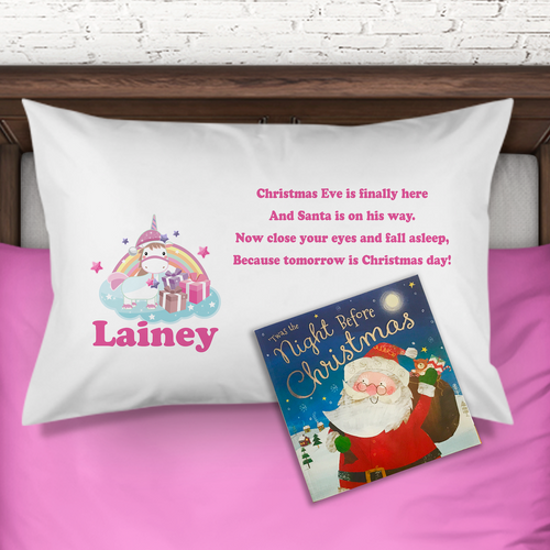 Unicorn Personalised Christmas Eve Pillow Case & Book - Christmas - Molly Dolly Crafts