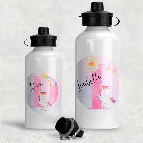 Unicorn Alphabet Personalised Aluminium Water Bottle 400/600ml