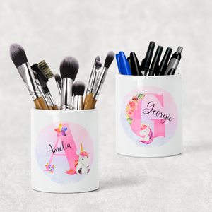 Unicorn Alphabet Watercolour Pencil Caddy / Make Up Brush Holder