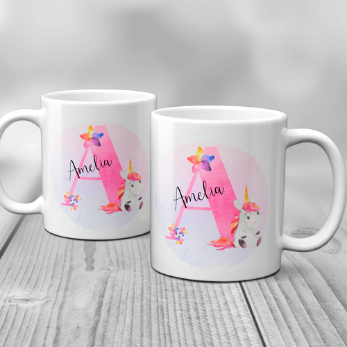 Unicorn Alphabet Watercolour Mug