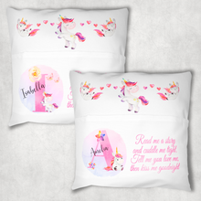 Unicorn Alphabet Personalised Pocket Book Cushion Cover White Canvas