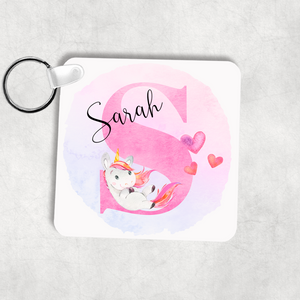 Unicorn Alphabet Personalised Keyring Bag Tag