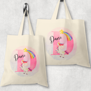 Unicorn Alphabet Watercolour Tote Bag