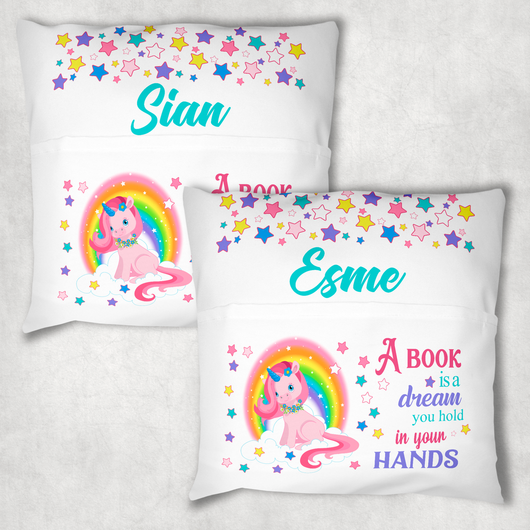 Unicorn Rainbow Personalised Pocket Book Cushion Cover White Canvas