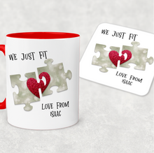 We Just Fit Jigsaw Red Valentine's Day Personalised Mug and Coaster Set