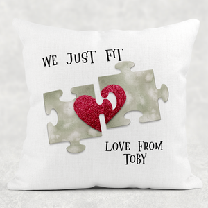 We Just Fit Personalised Valentine's Day Cushion