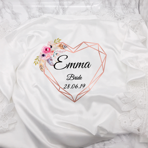 Heart Floral Personalised Bride Lace Wedding Dressing Robe Bridesmaid, Maid of Honour, Flower Girl Wedding Gown