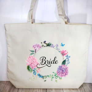 Bride Floral Wreath Wedding Tote Bag