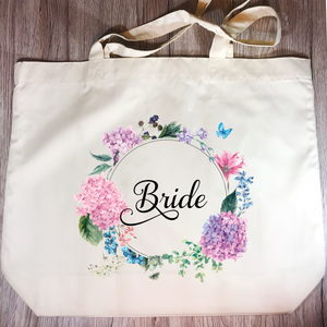 Bride Floral Wreath Wedding Tote Bag - Tote Bag - Molly Dolly Crafts