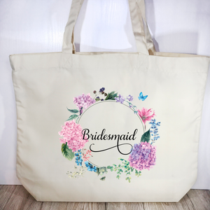 Bridesmaid Floral Wreath Wedding Tote Bag