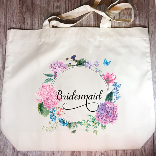 Bridesmaid Floral Wreath Wedding Tote Bag - Tote Bag - Molly Dolly Crafts