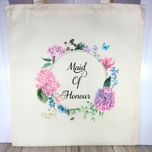 Maid Of Honour Floral Wreath Wedding Tote Bag - Tote Bag - Molly Dolly Crafts