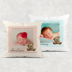 Welcome to the World Photo Personalised Cushion Linen White Canvas