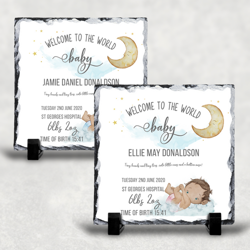 New Baby Welcome to the World Personalised Slate