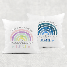 Rainbow When It Rains Personalised Cushion Linen White Canvas